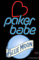 Blue Moon Poker Girl Heart Babe Real Neon Glass Tube Neon Sign
