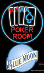Blue Moon Poker Room Real Neon Glass Tube Neon Sign
