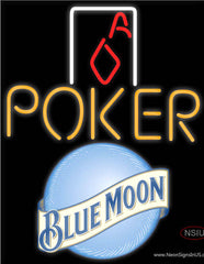 Blue Moon Poker Squver Ace Real Neon Glass Tube Neon Sign