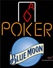 Blue Moon Poker Squver Ace Neon Sign