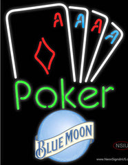 Blue Moon Poker Tournament Real Neon Glass Tube Neon Sign