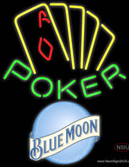 Blue Moon Poker Yellow Real Neon Glass Tube Neon Sign