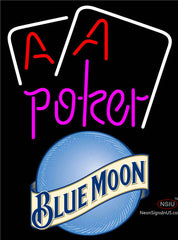 Blue Moon Purple Lettering Red Aces White Cards Neon Sign
