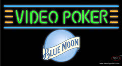 Blue Moon Video Poker Real Neon Glass Tube Neon Sign 7