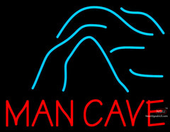 Blue Waves Red Man Cave Neon Beer Sign