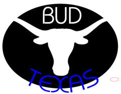 Bud Blue Texas Longhorn Neon Beer Sign