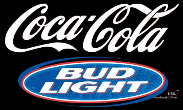 Bud Light Coca Cola White Neon Sign