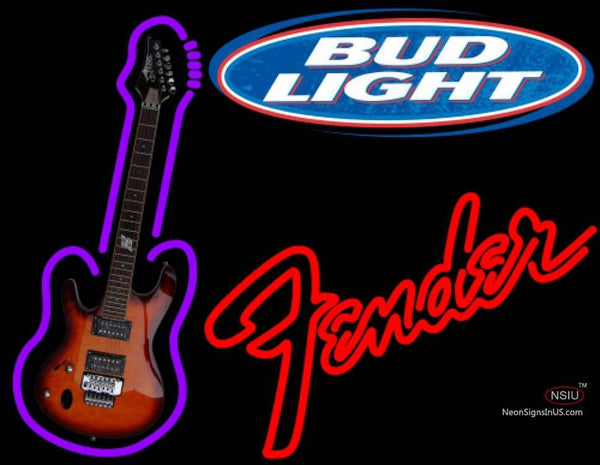 Bud Light Fender Red GUITAR Neon Sign