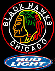Bud Light Logo Commemorative  Chicago Blackhawks Neon Sign