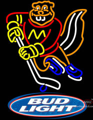Bud Light Logo Minnesota Golden Gophers Hockey Neon Sign