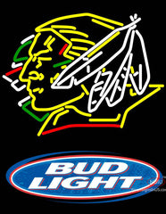 Bud Light Logo North Dakota Fighting Sioux Hockey Neon Sign