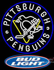 Bud Light Logo Pittsburgh Penguins Neon Sign
