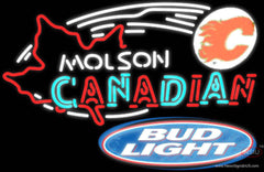 Bud Light Molson Flames Hockey Real Neon Glass Tube Neon Sign