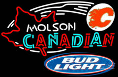 Bud Light Molson Flames Hockey Neon Sign