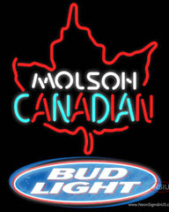 Bud Light Molson Leaf Hockey Real Neon Glass Tube Neon Sign