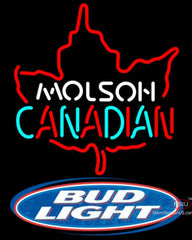 Bud Light Molson Leaf Hockey Neon Sign
