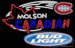 Bud Light Molson Montreal Canadians Hockey Real Neon Glass Tube Neon Sign