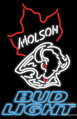 Bud Light Neon Molson Buffalo Sabres NHL Hockey Real Neon Glass Tube Neon Sign