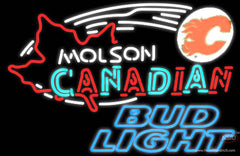 Bud Light Neon Molson Flames Hockey Real Neon Glass Tube Neon Sign