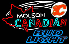 Bud Light Neon Molson Flames Hockey Neon Sign