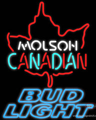 Bud Light Neon Molson Leaf Hockey Real Neon Glass Tube Neon Sign  7