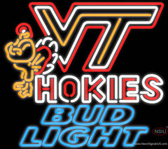 Bud Light Neon Virginia Tech Vt Hokies Logo Hockey Real Neon Glass Tube Neon Sign