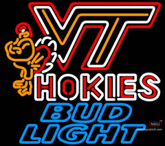 Bud Light Neon Virginia Tech Vt Hokies Logo Hockey Neon Sign