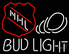 Bud Light NHL Puck Neon Beer Sign