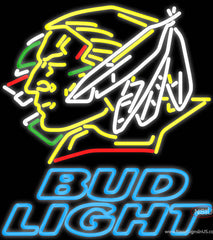 Bud Light North Dakota Fighting Sioux Hockey Real Neon Glass Tube Neon Sign