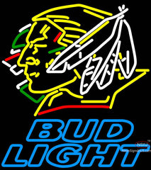 Bud Light North Dakota Fighting Sioux Hockey Neon Sign