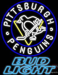 Bud Light Pittsburgh Penguins Real Neon Glass Tube Neon Sign