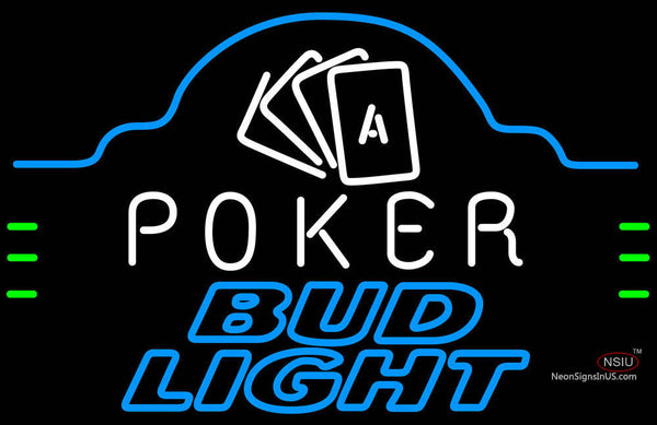 Bud Light Poker Ace Cards Neon Beer Sign