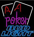 Bud Light Purple Lettering Red Aces White Cards Neon Beer Sign
