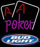 Bud Light Purple Lettering Red Aces White Cards Poker Neon Sign 7
