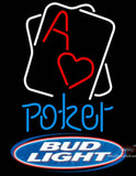 Bud Light Rectangular Black Hear Ace Poker Neon Sign 7