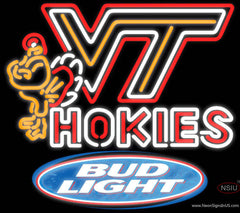 Bud Light Virginia Tech Vt Hokies Logo Hockey Real Neon Glass Tube Neon Sign