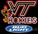 Bud Light Virginia Tech Vt Hokies Logo Hockey Neon Sign