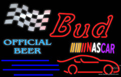 Bud NASCAR Official Beer Real Neon Glass Tube Neon Sign