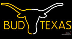 Bud Texas Saffron And White Longhorn Neon Beer Sign