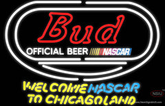 Bud Welcome NASCAR To Chicago land Real Neon Glass Tube Neon Sign