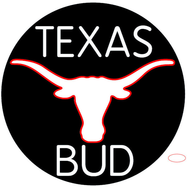 Bud White Texas Red Longhorn Neon Beer Sign x