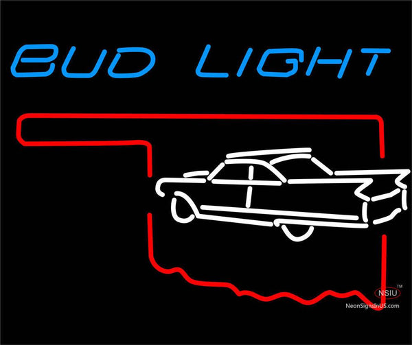 Budlight Oklahoma Car White Neon Sign