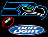 Budlight With Football And Seahawk Emblem Neon Sign