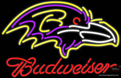 Budweiser Baltimore Ravens NFL Real Neon Glass Tube Neon Sign