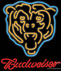 Budweiser Chicago Bears NFL Real Neon Glass Tube Neon Sign