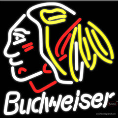 Budweiser Chicago Blackhawks Indian Hockey Real Neon Glass Tube Neon Sign