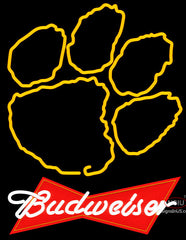 Budweiser Clemson University Tiger Print Neon Sign