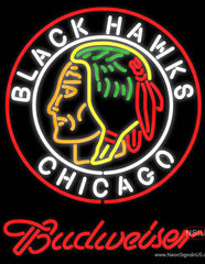 Budweiser Commemorative  Chicago Blackhawks Real Neon Glass Tube Neon Sign