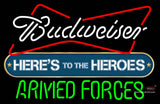 Budweiser Heres To The Heroes Armed Forces Neon Sign