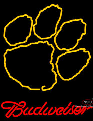 Budweiser Logo Clemson University Tiger Print Neon Sign